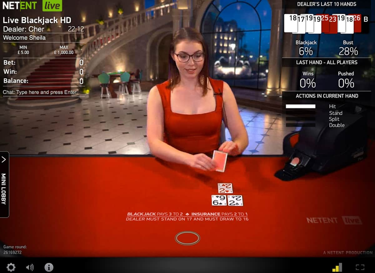live common draw blackjack high roller casino