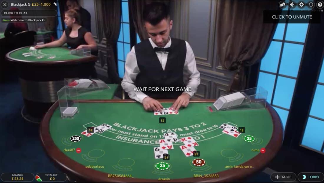 Evolution Gaming Blackjack Lobby | Games | Up To 200